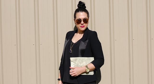 Vancouver fashion blogger,Black Smythe blazer, gold Gap clutch