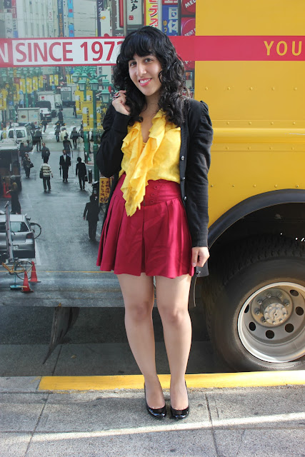 Yellow Ruffle Top and Red Pleated Skirt Outfit