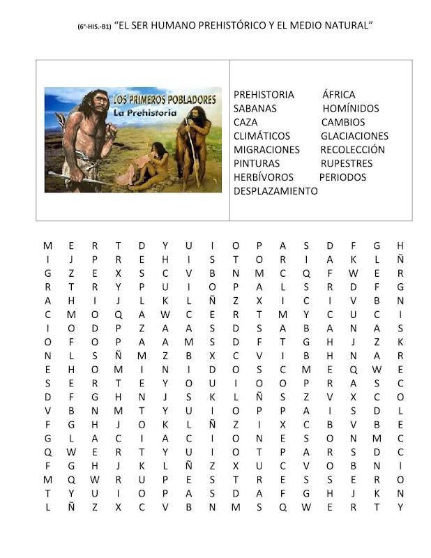 sopa de letras el ser humano prehistórico