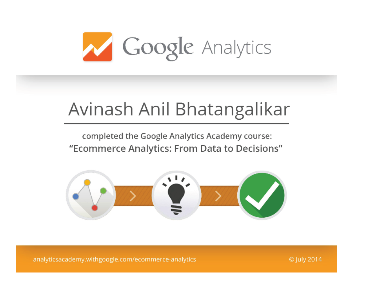 Certificate of Completion : Ecommerce Analytics: From Data to Decisions