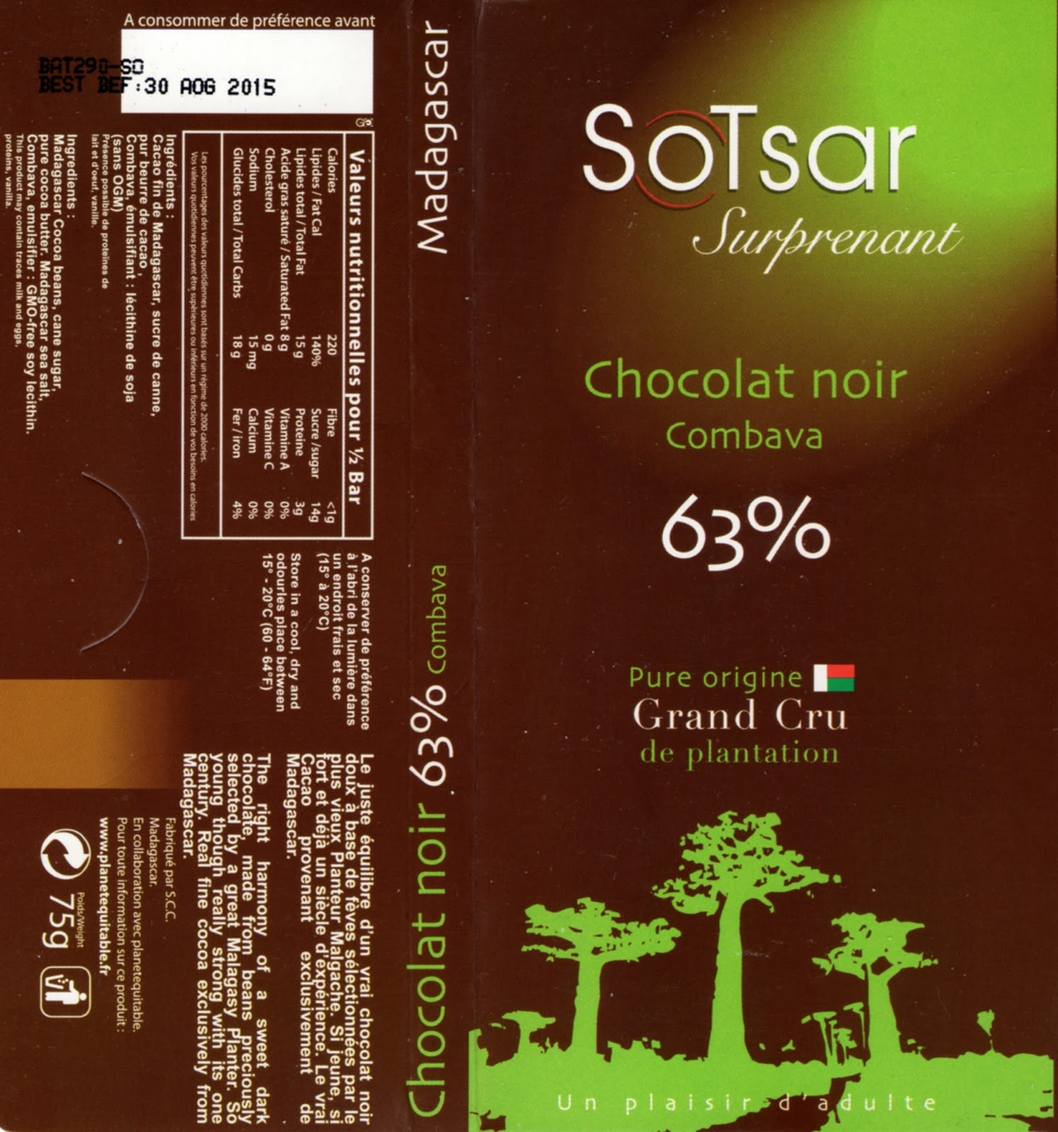tablette de chocolat noir gourmand sotsar chocolat noir combava madagascar 63