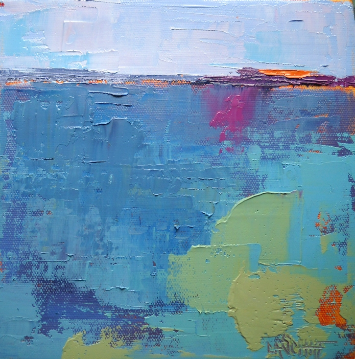 Abstract Landscape Paintings : Pieces of Eight: Abstract Seascape Painting, Daily Painting,