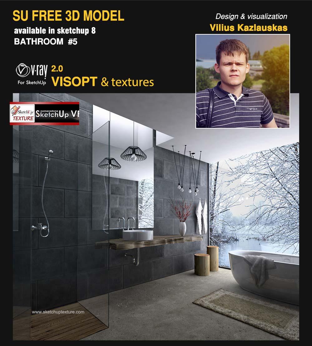 5# Sketchup_model_modern bathroom_by_Vilius_Kazlauskas