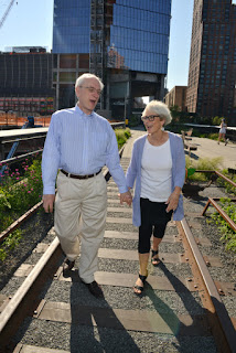 High Line Engagement Shoot, Walking on the Tracks