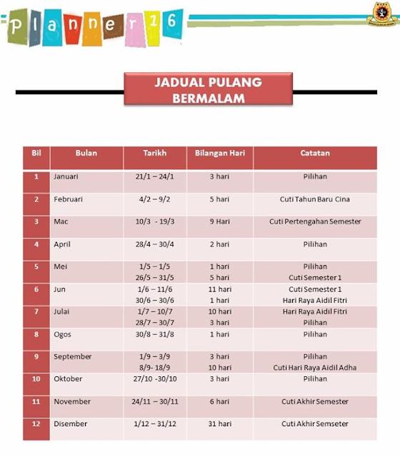 Jadual Pulang Bermalam MRSM Tahun 2016