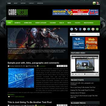 GamePassion blogger template. pagination for blogger ready. magazine style template blog. image slider template blog. blogger template games template blogspot