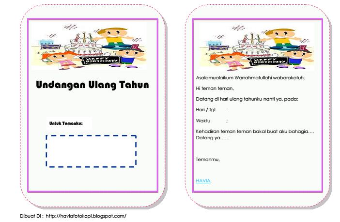 Template Undangan Ulang Tahun Anak Sederhana