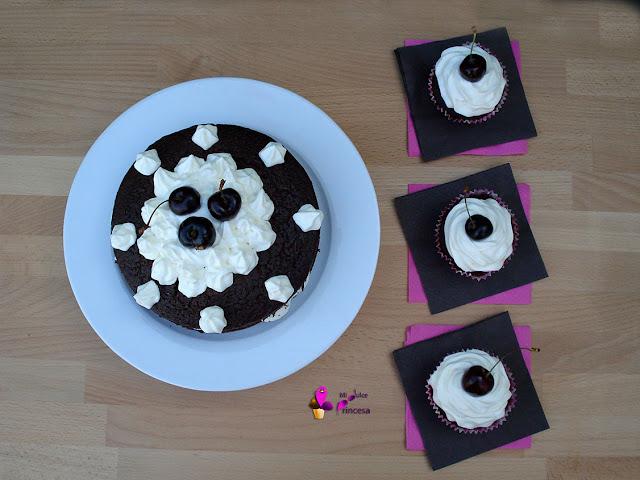 cupcake, cupcakes, selva negra, tarta, tarta selva negra, chocolate, cereza, chocolate y cereza,