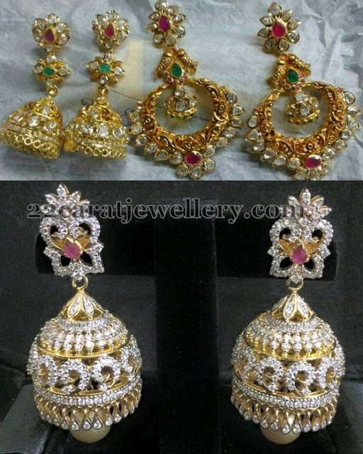 Pachi Chandbalis and Diamond Jhumkas