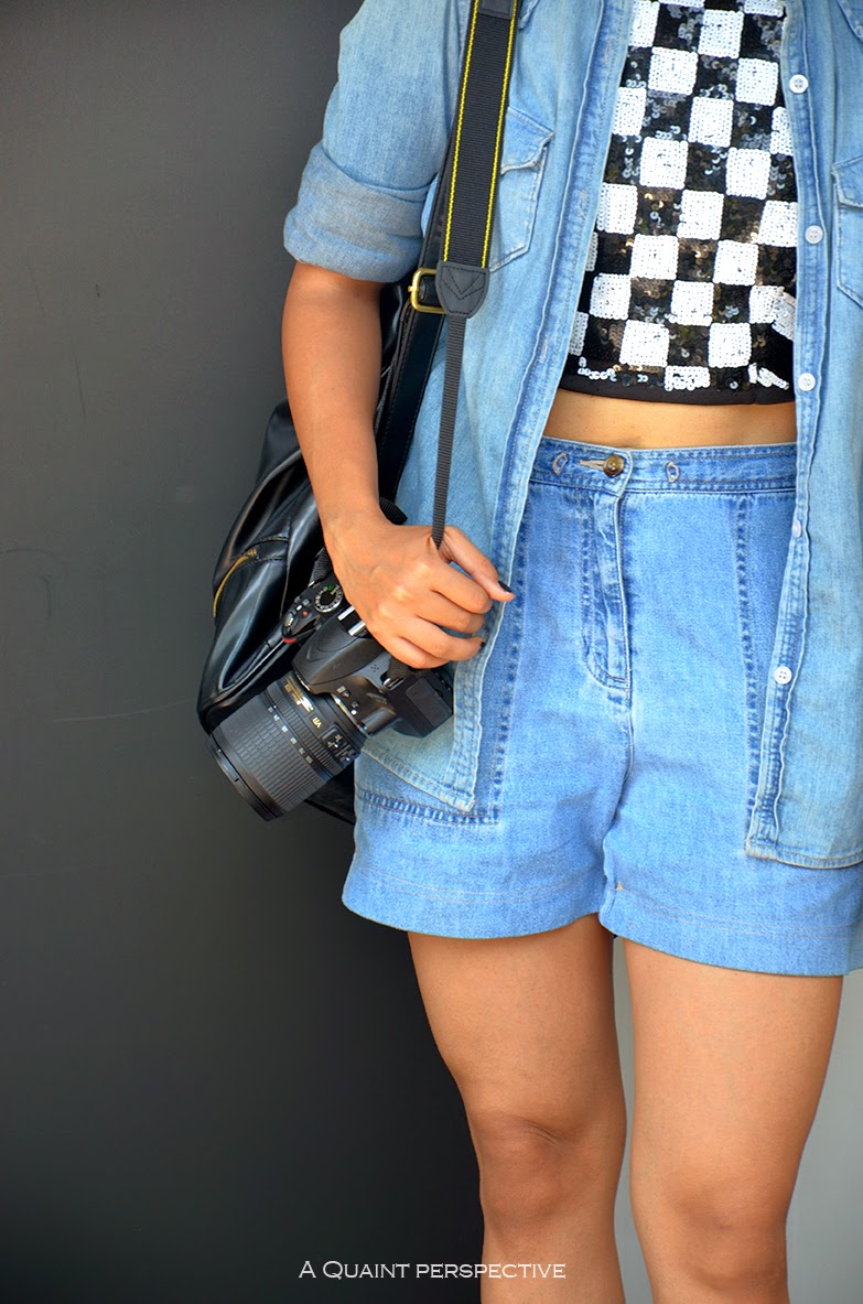aquaintperspective.blogspot.com;Shelly Sarkar in high waist ed denim Shorts and sequinned crop top