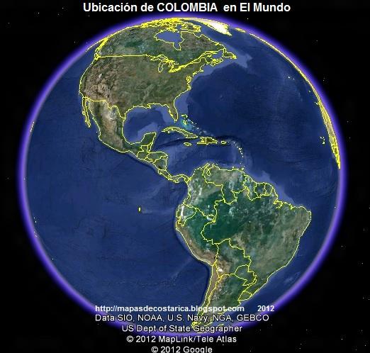 Ubicación de COLOMBIA en El Mundo. , Google Earth