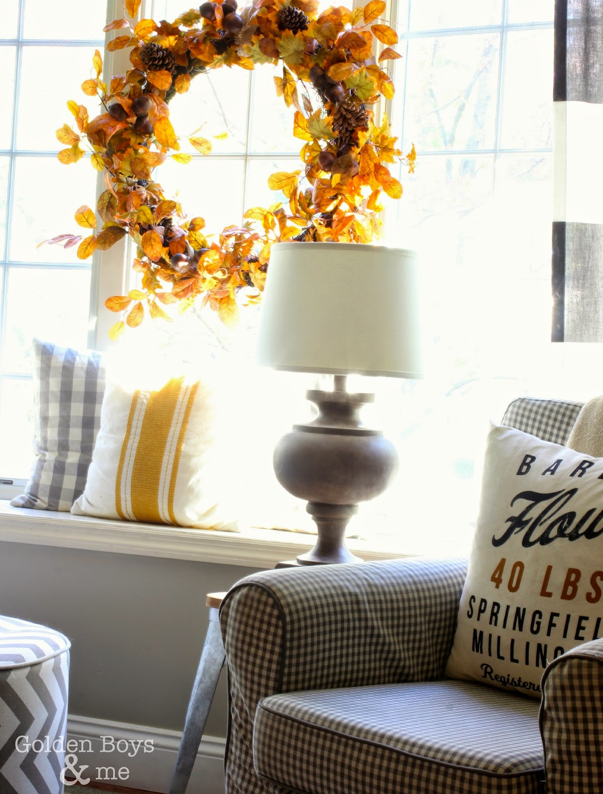 Target clearance lamp with fall wreath in window seat with Jennylund chair and H and M pillow cover.-www.goldenboysandme.com