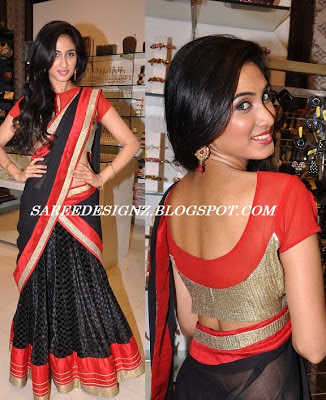 red with black lehenga saree blouse