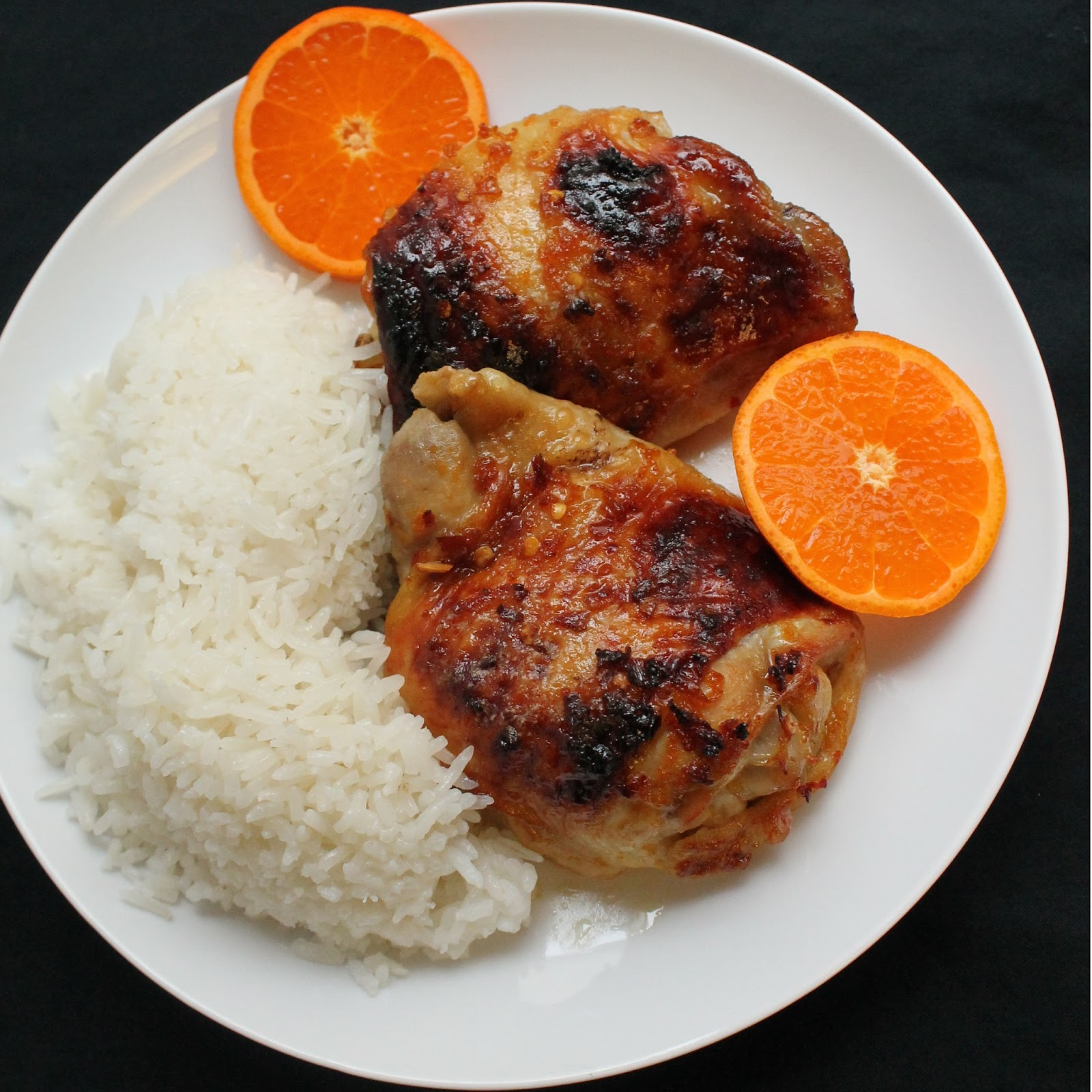 The Stay At Home Chef: Orange Glazed Chicken Thighs and Coconut Rice