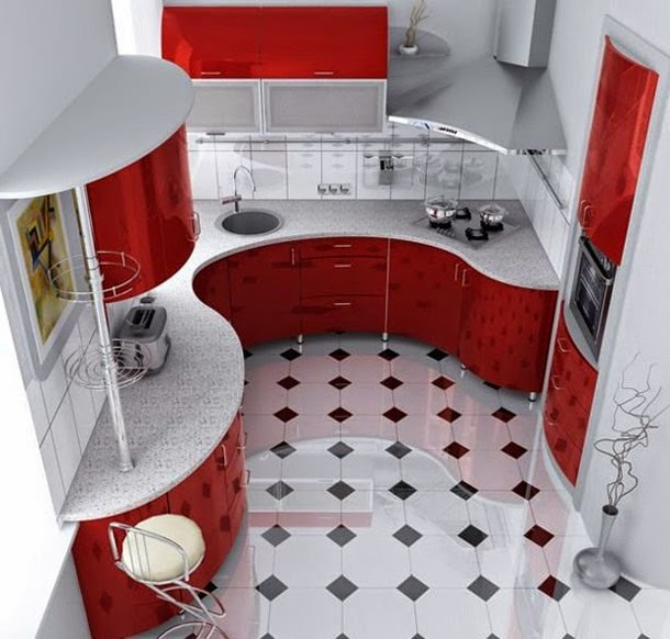 Ideas Beautiful Kitchen In White Red Colors Small Apartment