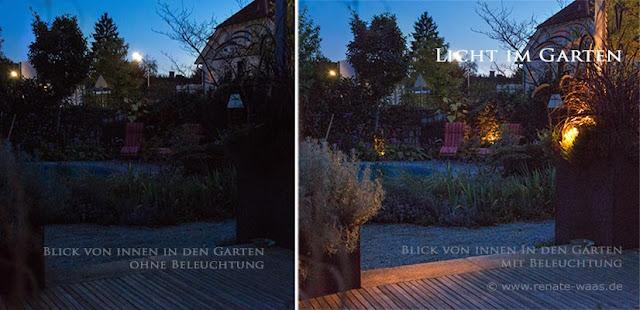 Der Garten mit und ohne Gartenbeleuchtung im Vergleich