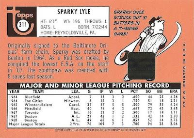 Signature Sundays – Sparky Lyle Signature Sundays – Sparky Lyle 2001ToppsArchivesTAA116Back