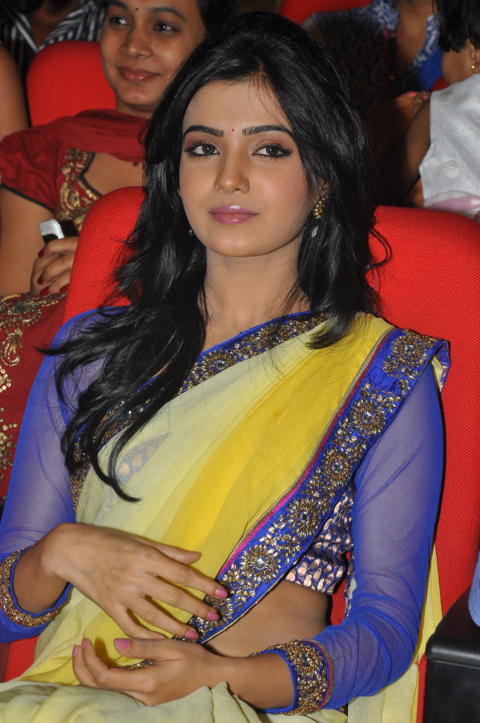 samantha saree at dookudu audio launch, samantha spicy saree latest photos