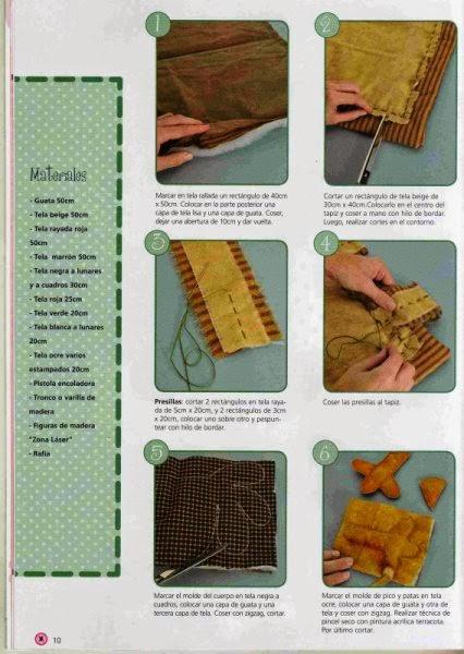 Moldes galo country de tecido