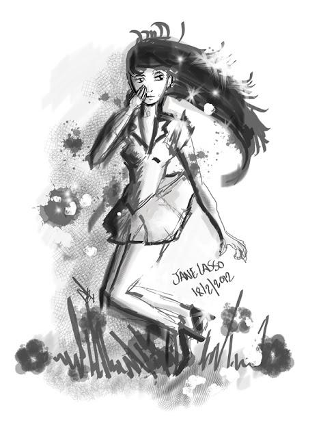 Sketch en SketchBook , sketch chica manga , escala de grises