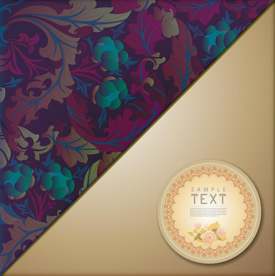 クラシックパターンのテキストスペース用背景 Classic pattern background イラスト素材