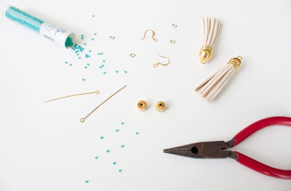 Five minute DIY tassel earrings supplies