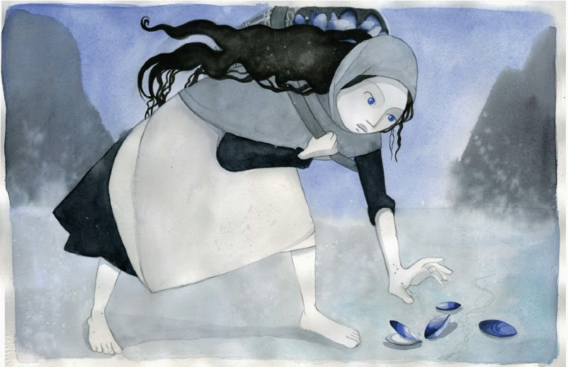 "Vesper Stamper, Mairead Gathering Mussels, Watercolor, ink, pencil, 14x21.5"", 2013"