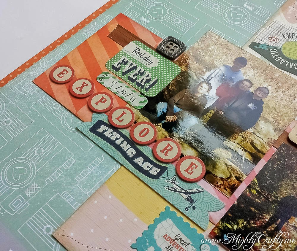 Explore layout for Sketch N Scrap challenge #56 -- www.MightyCrafty.me