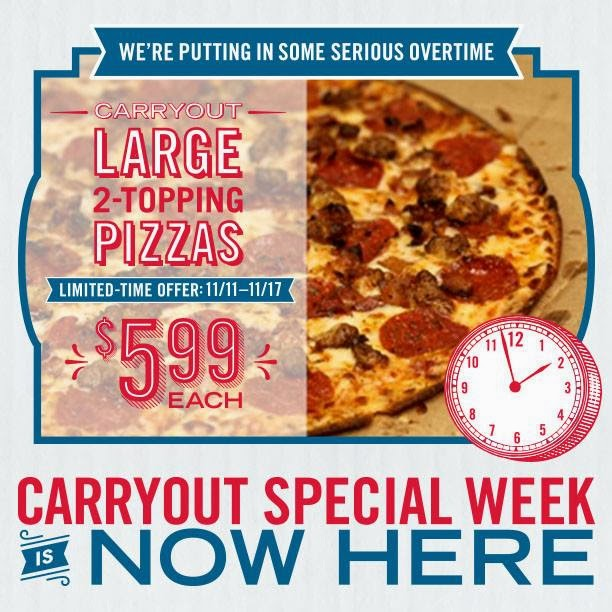 One of the current promotions available at participating Dominos Pizza locations is a large pizza with up to 3 toppings for $ This deal is only available when you choose to order the pizza for carryout.