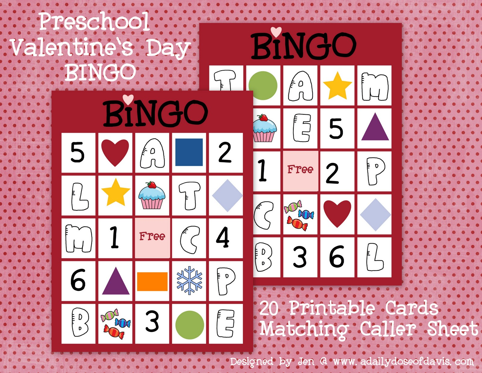A Daily Dose of Davis Valentines Day Bingo Perfect for Preschoolers – Valentine Bingo Card