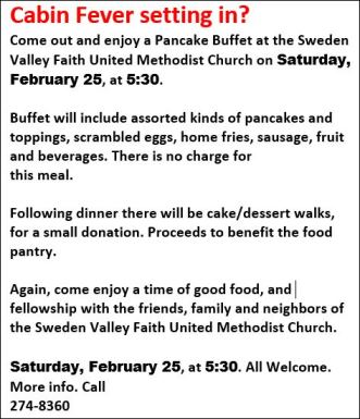 2-25 Pancake Buffet Sweden Valley