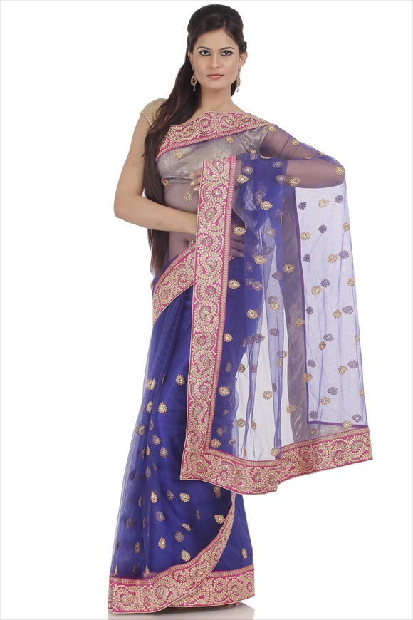 True Blue Net Saree
