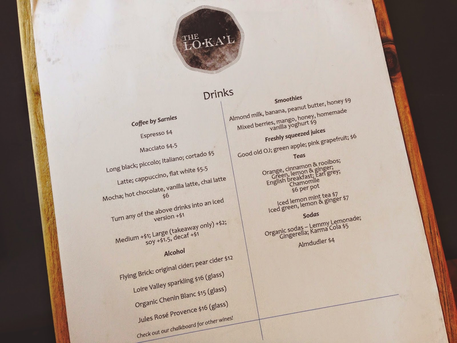 The Lokal Neil Road Singapore Drinks Menu