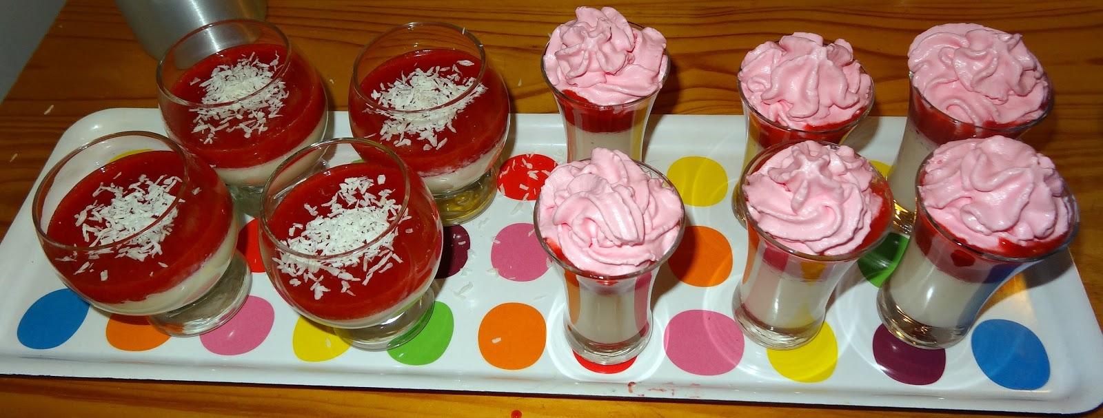 Les gourmandises de bl ne recette de panna cotta la fraise et la noix de coco base d 39 agar - Panna cotta noix de coco ...