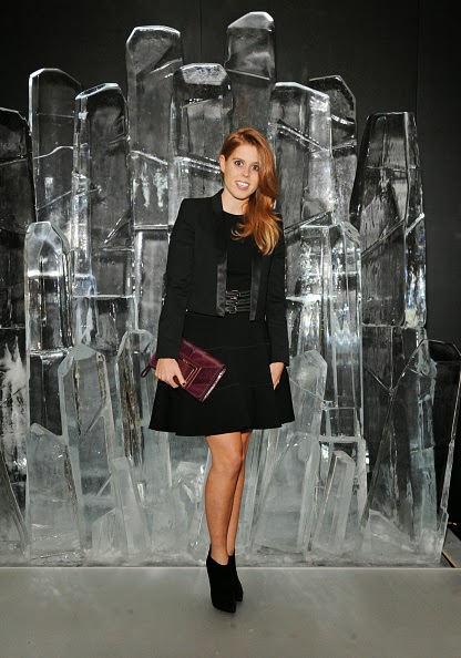 Princess Beatrice of York attend the dinner to unveil Jimmy Choo's new VICES collection and installation by British artist Mat Collishaw at One Mayfair on 09.10.2014 in London, England