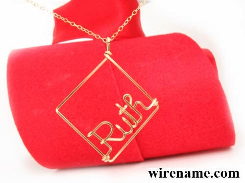 Gold-filled Necklace with square pendant