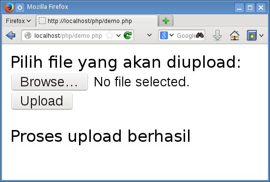 tampilan upload file dengan php