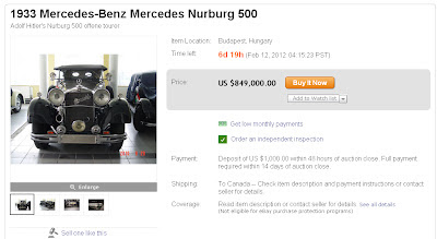 For sale Hitlers 1933 Mercedes Benz