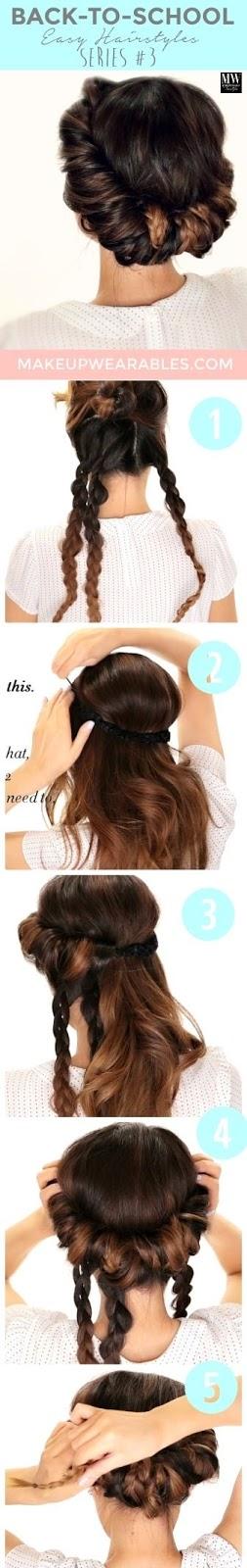 Minute Braided Headband Updo Hairstyle