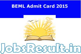 BEML Admit Card 2015