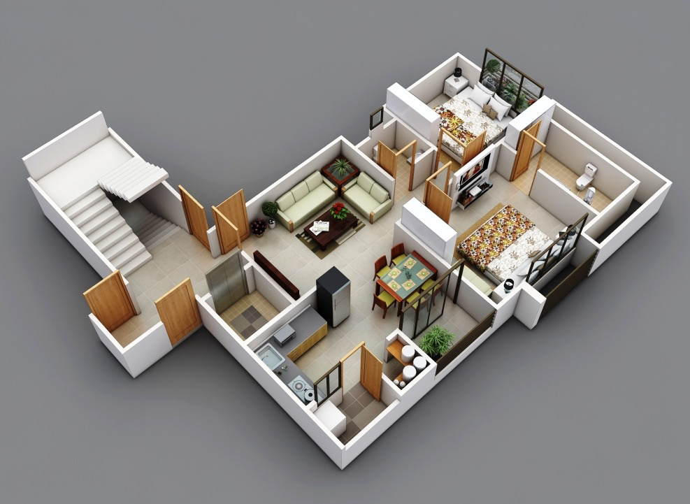 نماذج مجسمة لتصميم شقق سكنية مختلفة جزء ثان