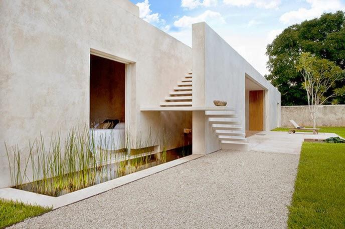 moderna escalera de casa hacienda con peldaos calados