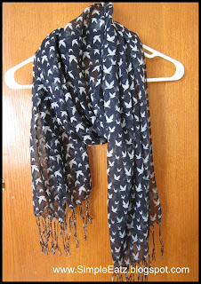 Dark blue scarf with white birds all over pattern