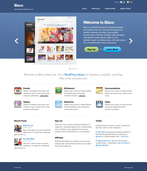 Bizco responsive Wordpress theme.