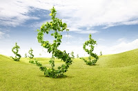 Green dollars representing wealth & environmental responsibility.