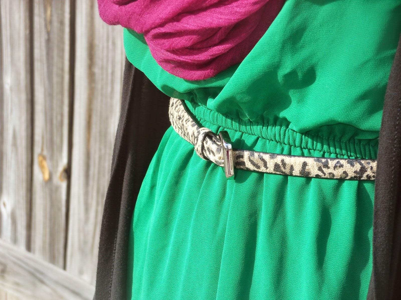 How to Wear a Dress in Winter    01. green dress, purple infinity scarf, leopard belt, black leggings, brown boots, black cardigan