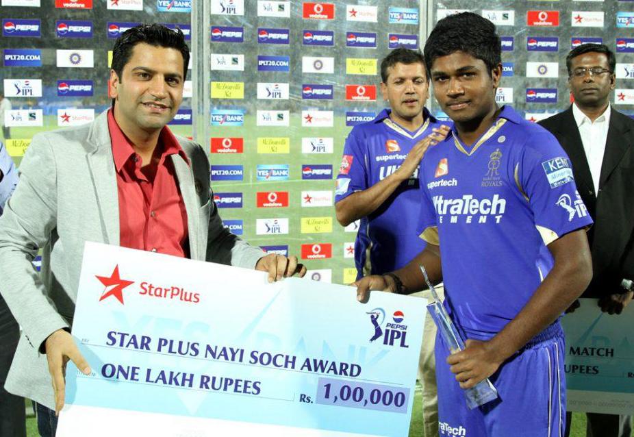 Sanju-Samson-Star-Plus-Nayi-Soch-Award-RR-vs-RCB-IPL-2013