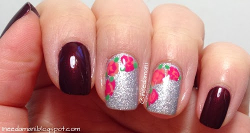 pretty roses valentine's day nails
