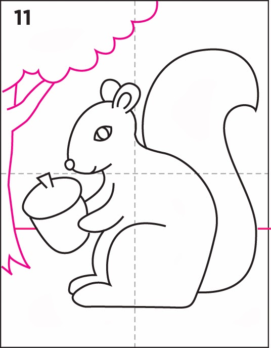 How to Draw a Squirrel Art Projects for Kids