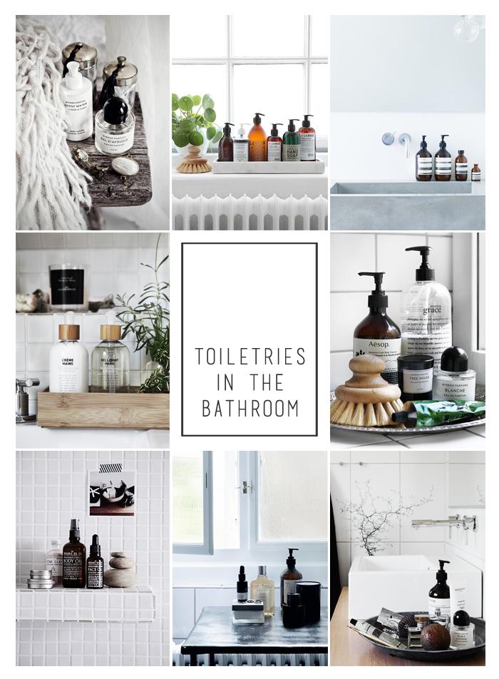 Kosmetyki w minimalistycznej łazience.